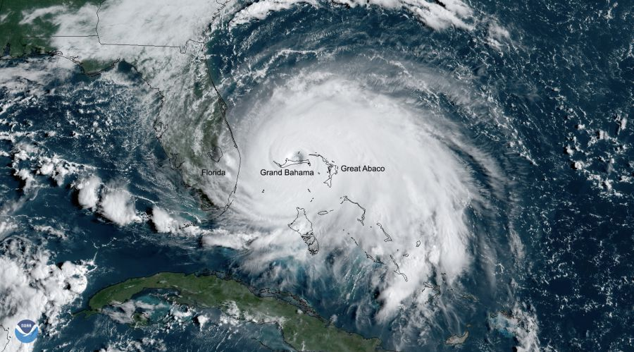NOAA image of Hurricane Dorian over Bahamas Sept 2 2020